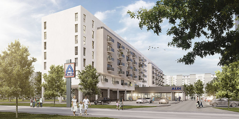 ALDI baut Wohnungen über Filialen, Verbindung von Supermarkt und Wohngebäude