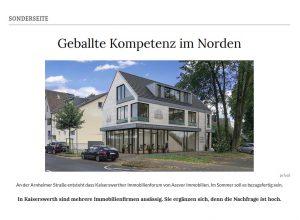 Zeitungsartikel Immobilienmakler Düsseldorf, beste Makler im Düsseldorfer Norden, Rheinische Post Immobilien
