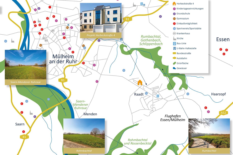 wohnen in mülheim-raadt, wohnnen in muelheim-raadt, Wohnung kaufen in Raadt, Wohnung kaufen in Mülheim, Wohnung kaufen in Muelheim_Umgebungskarte Raadt